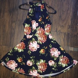 Navy Floral Keyhole Skater Girl Dress